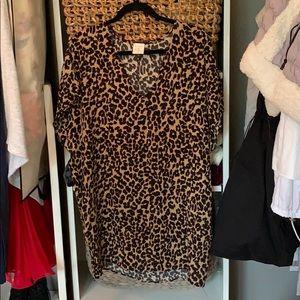 Leopard print shift dress.